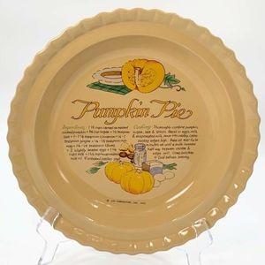 Vintage Pumpkin Pie Plate Holiday Baking Dish 1990